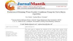 Jurnal : Prediksi Kondisi Sarana Air Minum Menggunakan Algoritma Naive Bayes